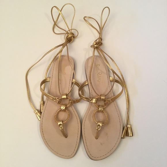 Lilly Pulitzer 8 Lacey sandals laces w/tassels